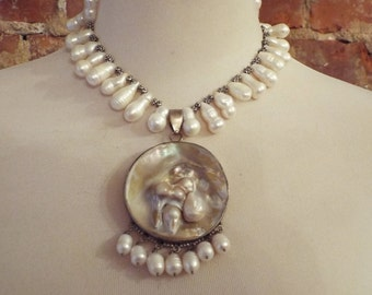 Bold Freshwater Pearl Statement Necklace w/Pendant
