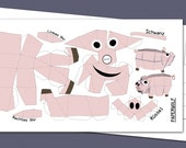 "Postcard ""Mini piglet"" DIY papercraft template, Size: 210x105mm Happy Piggy"