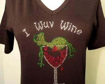 I Wuv Wine Rhinestone Shirt