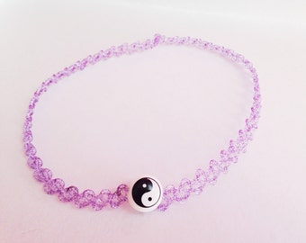 90s purple glitter tattoo choker w/ yin yang bead
