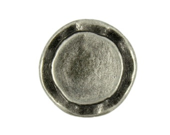 Metal Buttons - Rustic Circles Metal Shank Buttons in Nickel Silver - 14mm - 9/16 inch - 6 pcs