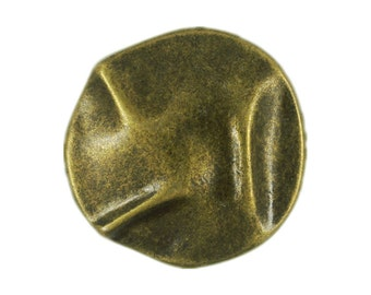 Metal Buttons - Wrinkle Surface Metal Shank Buttons in Antiqued Brass - 18mm - 11/16 inch - 6 pcs