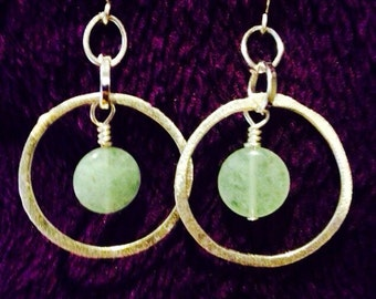 Green aventurine earrings with hoops.