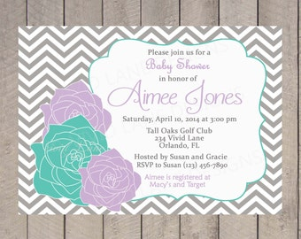 Purple and Teal Baby Shower Invitation, Printable, Girl Baby Shower, Chevron, Roses, Digital 116