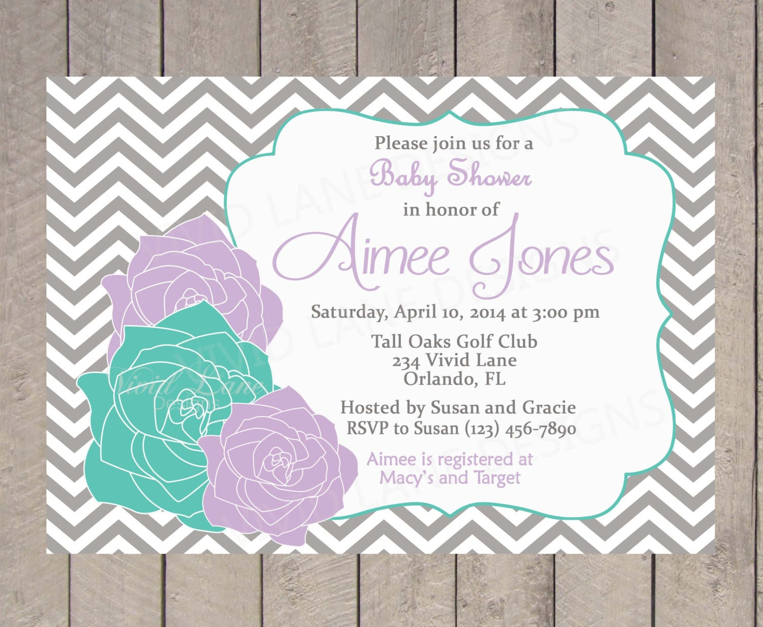 purple and teal baby shower invitation by vividlanedesigns on etsy