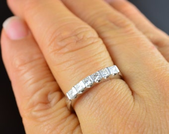 Annabelle - Diamond Wedding Band in White Gold, Princess Cut, 6-Stone Bar Set Stones, Stackable, Free Shipping