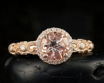 Ashlyn - Morganite Engagement Ring in Rose Gold, Round Brilliant Cut, Diamond Halo, Filigree with Bezel Set Side Stones, Free Shipping
