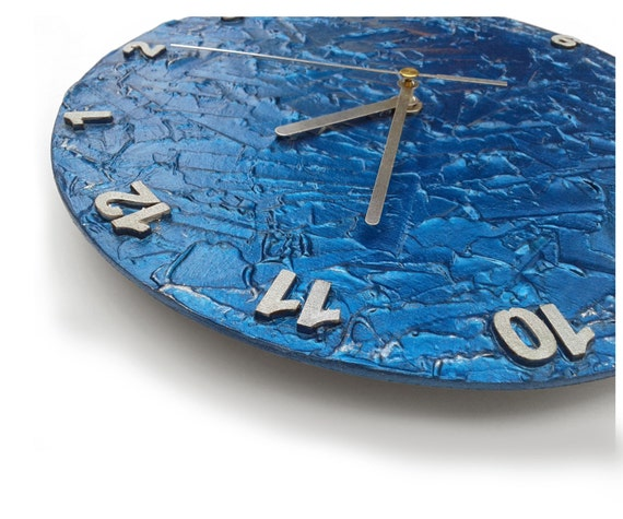 Blue Wall Clock Unique Clock Modern Wall Clock Blue By