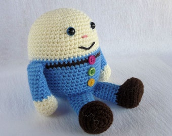 Humpty Dumpty Doll, Crochet Humpty, Amigurumi Humpty, Blue Humpty Dumpty, Crochet Toy, Hand Made Toy