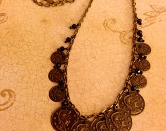 Vintage Roman-Style Coin Necklace