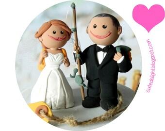 Cake topper, Wedding Cake Topper, CUSTOM cake topper, Fisherman groom, fishing cake topper, Just married tag, traveling cake topper,