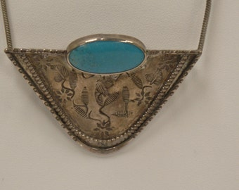 Sterling silver and turquoise necklace and brooch