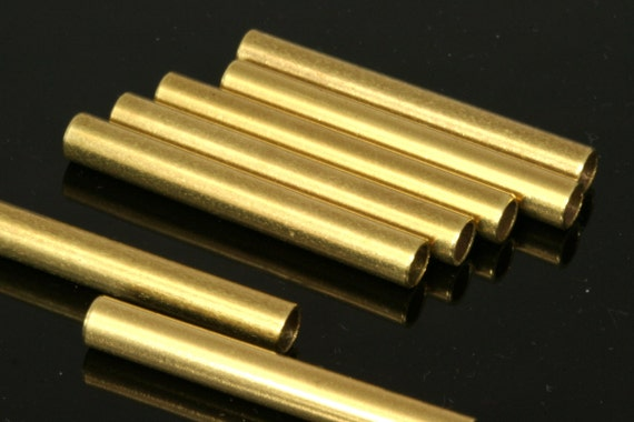25 Pcs  Raw Brass Tube 38 x 5 mm (hole 3,7 mm) industrial brass Charms,Pendant,Findings spacer bead