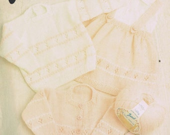 dress cardigan jumper baby  vintage knitting pattern PDF instant download