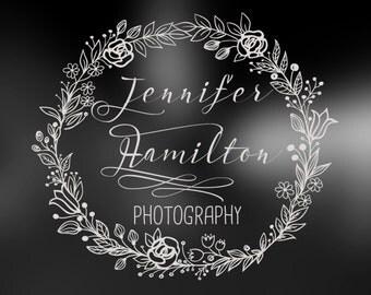 Photography Logo - hand drawn logo - wreath logo - floral logo -for boutique - Small Business - watermark logo -Premade Photography Logo