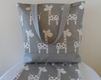 Baby Giraffe tote bag and pram blanket set