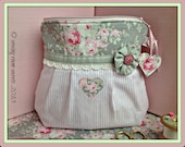 Tutorial style sewing pattern for shabby chic cosmetics bag - instant PDF download