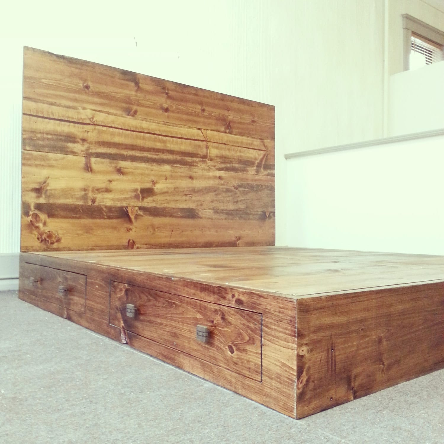 rustic industrial bed frame with headboard by customtimberhf. Black Bedroom Furniture Sets. Home Design Ideas