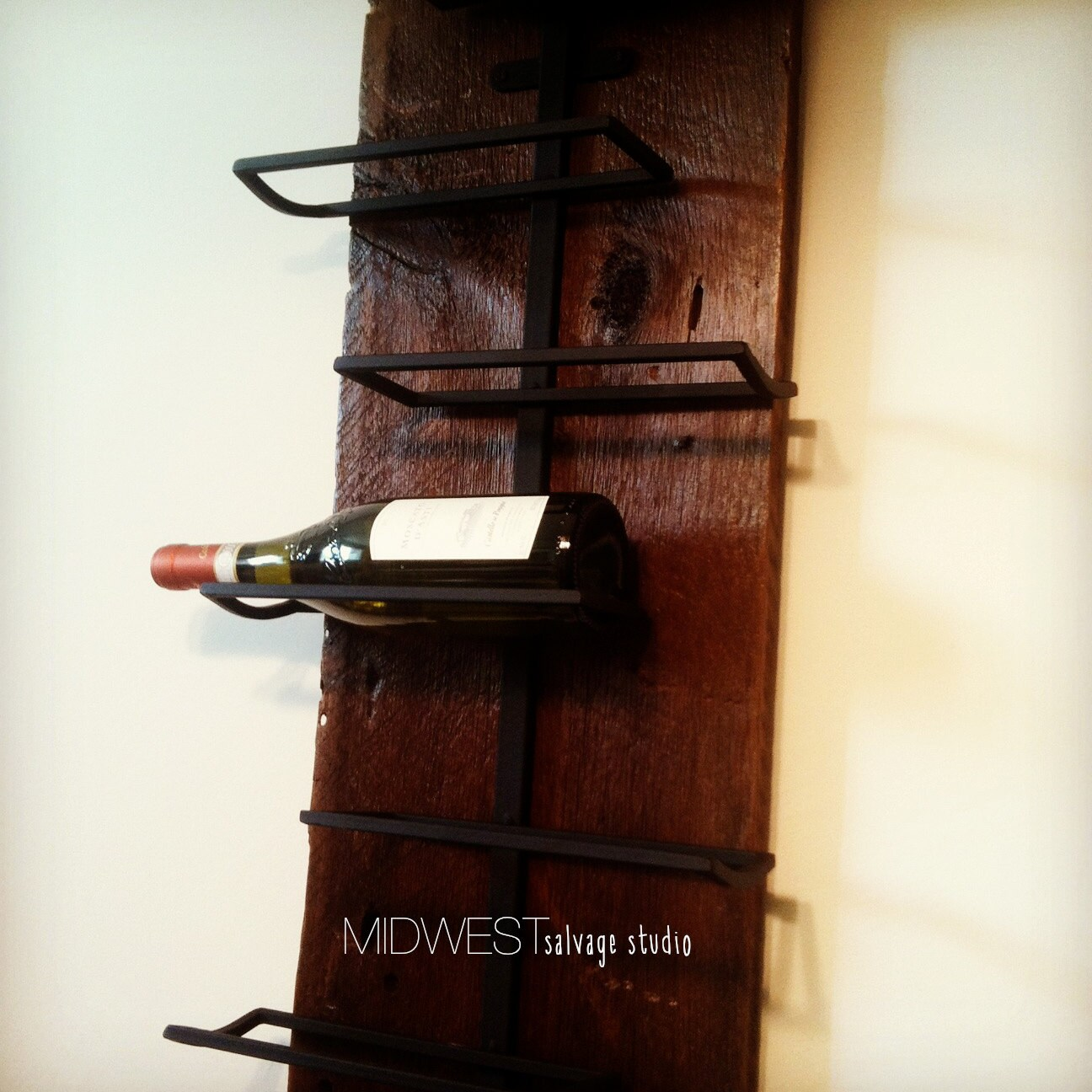Rustic Modern Salvaged Wood Wine Rack By Midwestsalvagestudio