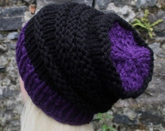 Hand Knit Hat- Womens hat- purple and black- chunky- beanie hat- winter hat- Womens Accessories
