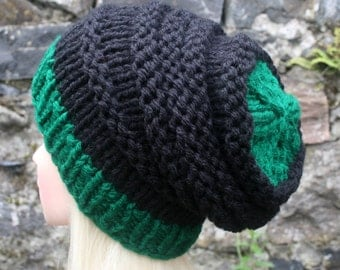 Hand Knit Hat- Womens hat- slouchy -beanie hat- black and forest green- chunky knit winter hat- Womens Accessories