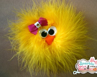 Easter Chick Sculpture Feather Hair Bow Clip