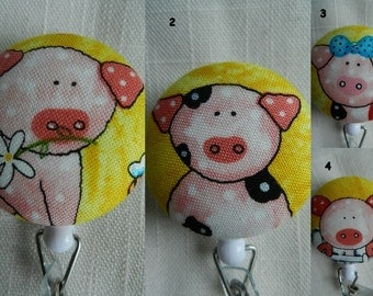 Pigs on Yellow Retractable ID, Name badge Holder Reels