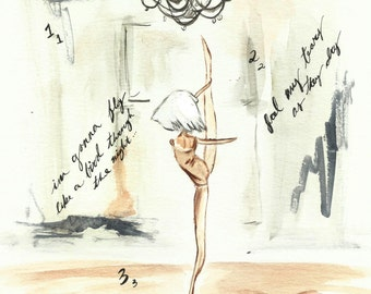 Chandelier Sia Dance Watercolor Art Print 8x10 Jimigem  Illustration