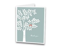 Love Birds Wedding Tree Custom Thank You Cards with Envelopes - (A2 size cards)  4.25 x 5.5 - matches wedding guestbook poster