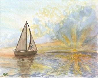 Sailboat Watercolor Giclee Print, 5x7