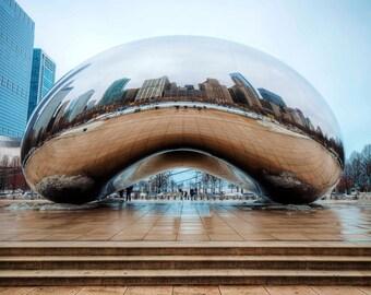 Chicago Bean Print, Cloud Gate, Millennium Park, Reflections Sculpture, Park, Cityscape, Photography, Architecture, Fine Art Photography