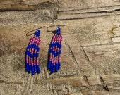 Modern Native American Earrings, Small, Purple and Blue