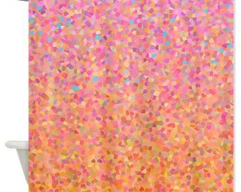 decorative fabric shower curtain peach and pink cotton candy sky candy pink