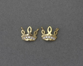 Crown Brass Pendant . Wedding Jewelry, Bridal Jewelry . 16K Polished Gold Plated over Brass  / 2 Pcs - GC086-PG-CR