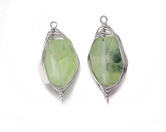 prehnite gemstone connector jewelry craft supplies