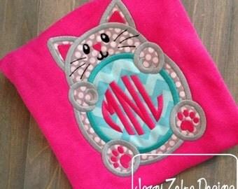 Cat Monogram Appliqué embroidery Design - kitten Applique Design - cat Appliqué Design - monogram frame Applique Design