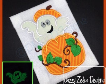 Ghost in Pumpkin Applique embroidery Design - Halloween Applique Design - ghost Applique Design - pumpkin Applique Design