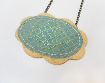 Felt fish necklace, Embroidered fish brooch