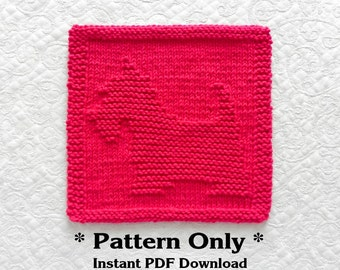 Knitted DISHCLOTH Pattern SCOTTIE Pattern - PDF Instant Download - Scottish Terrier Dog Dish Cloth Pattern / Knit Wash Cloth Pattern