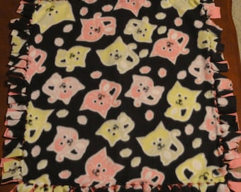 Black with Green and Pink Cats Fleece Blanket - Tied Knots