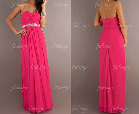 hot pink bridesmaid dress, long bridesmaid dress, affordable bridesmaid dress, long prom dress, simple prom dress, long evening dress, 14362