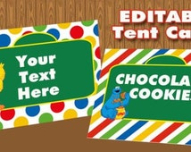 Sesame Street Treat bag  toppers, Buffet Labels or Tent Cards  Editable Birthday party decorations INSTANT DOWNLOAD