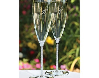Personalized Wedding Flutes Champagne Glittering Beads Toasting Glasses Ceremony Engraved