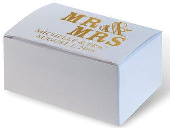 Personalized Wedding Cake Boxes White (over 30 print colors to choose from) Birthday Party Favor Custom Monogram Printed Mr & Mrs Cupcake