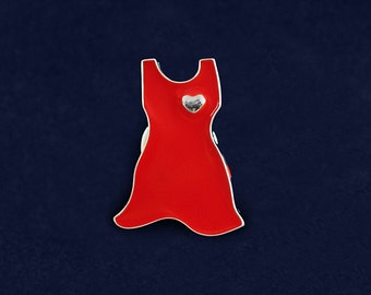 Large Red Dress Pin (RE-P-03L-HRT)