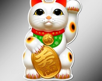 Decal or Car bumper sticker. Lucky Cat. Maneki Neko, Good Luck Cat  Approximately 120 mm tall ( 4.75 inches )