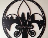 "16"" Fleur-De-Lis Louisville Skyline With Pronunciations"