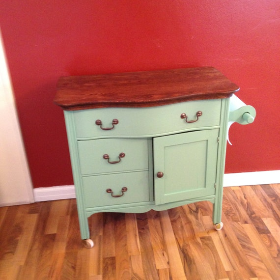 Repurposed Antique Dresser As A Kitchen Island With A: Upcycled Repurposed Aqua Kitchen Island Made From Vintage