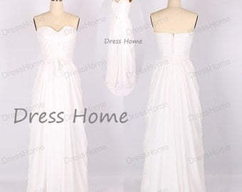 Long Bridesmaid Dress - White Bridesmaid Dress / Long Bridesmaid Dress / Prom Dress / Long Prom Dress / Ivory Prom Dress DH145