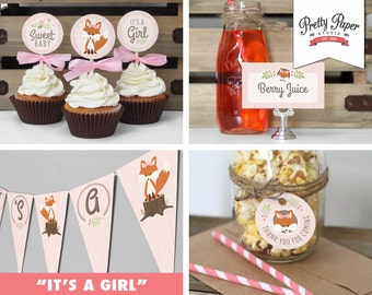 Baby Shower Decor Pack - Pink Woodland Fox // INSTANT DOWNLOAD // Banner, Food Tents, Cupcake Toppers, Favor Tags // Girl // Printable BS02